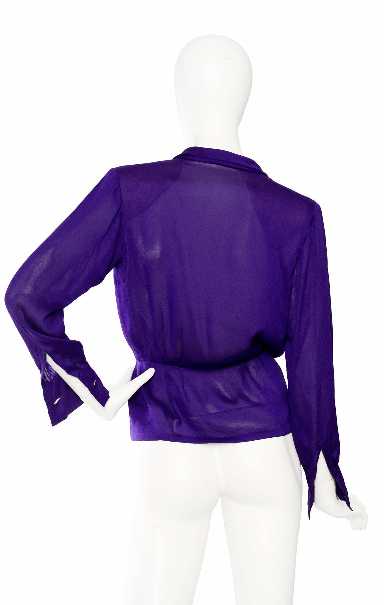 1980s Yves Saint Laurent Haute Couture Silk Jersey Blouse 5