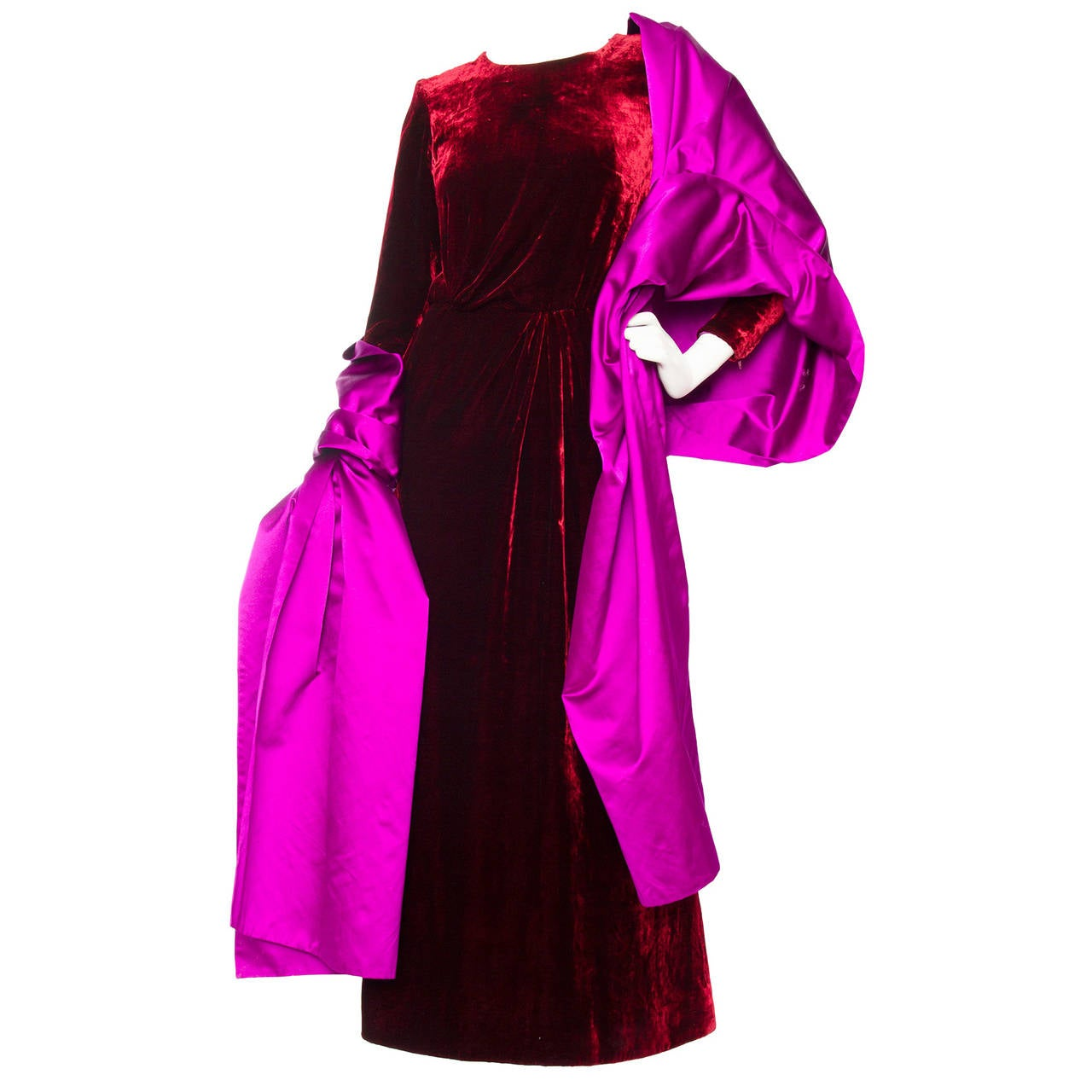 Stunnung Late 1970s Yves Saint Laurent Silk Velvet Haute Couture Dress