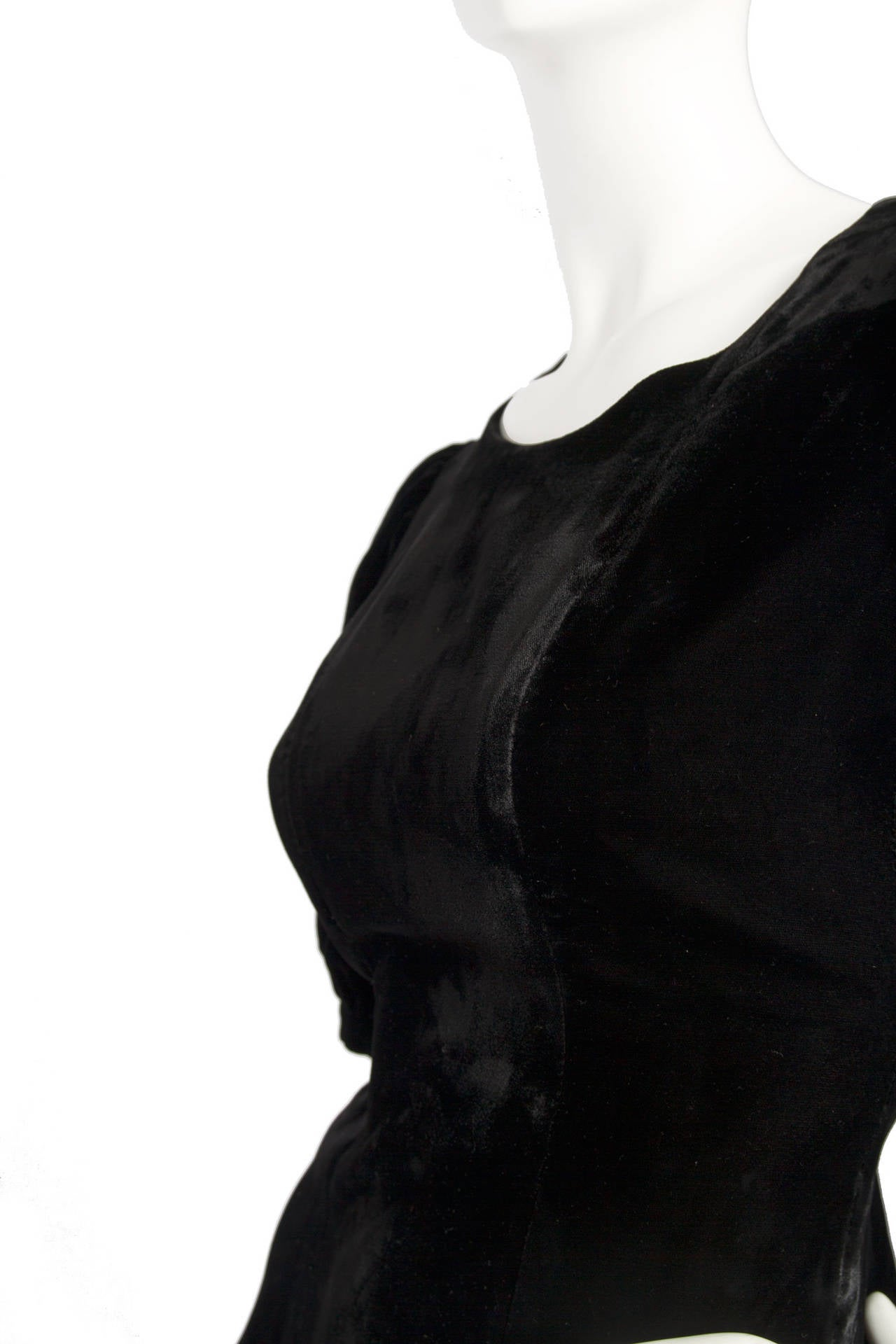 1970s Yves Saint Laurent Silk Velvet Evening Dress 6