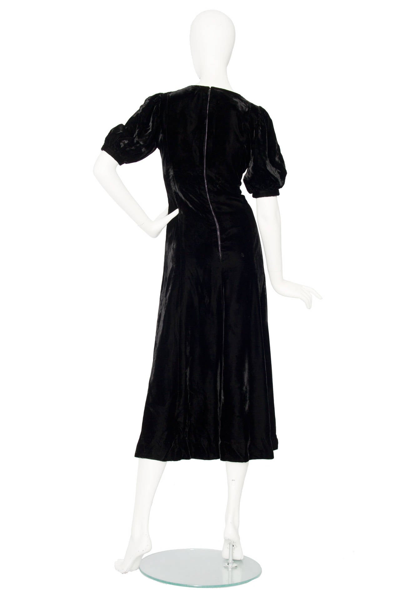 1970s Yves Saint Laurent Silk Velvet Evening Dress 5