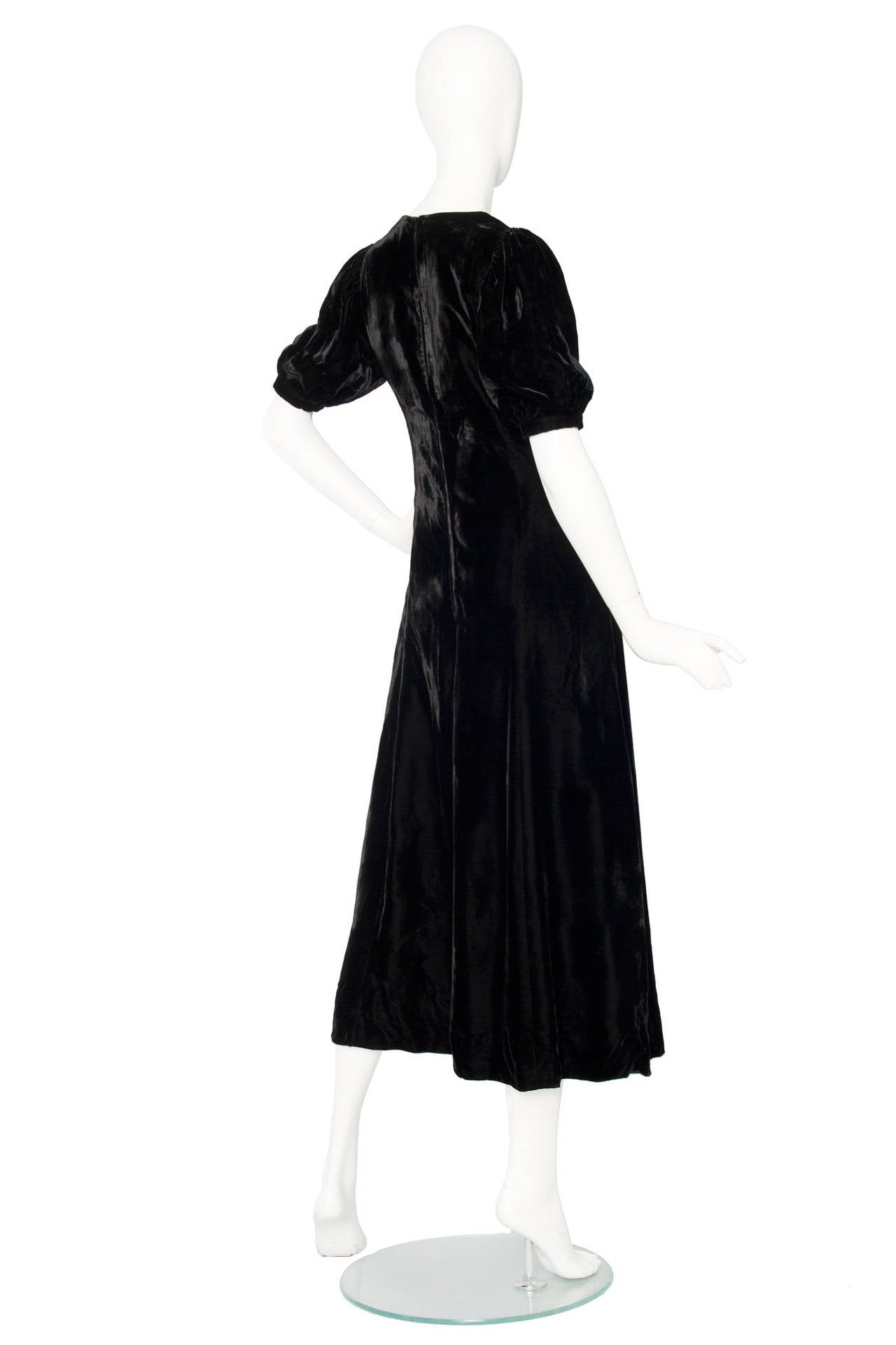 1970s Yves Saint Laurent Silk Velvet Evening Dress 4