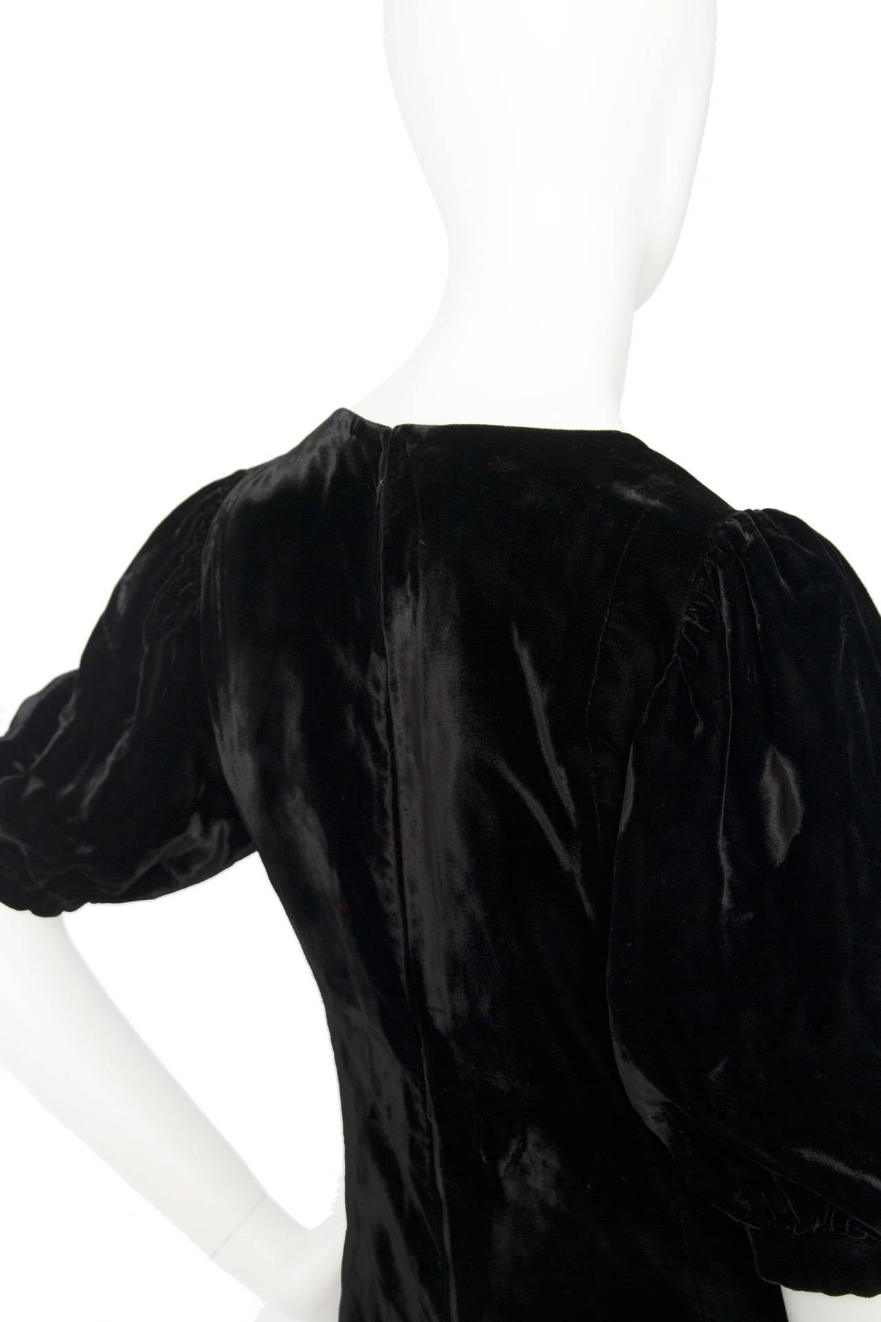 1970s Yves Saint Laurent Silk Velvet Evening Dress 7