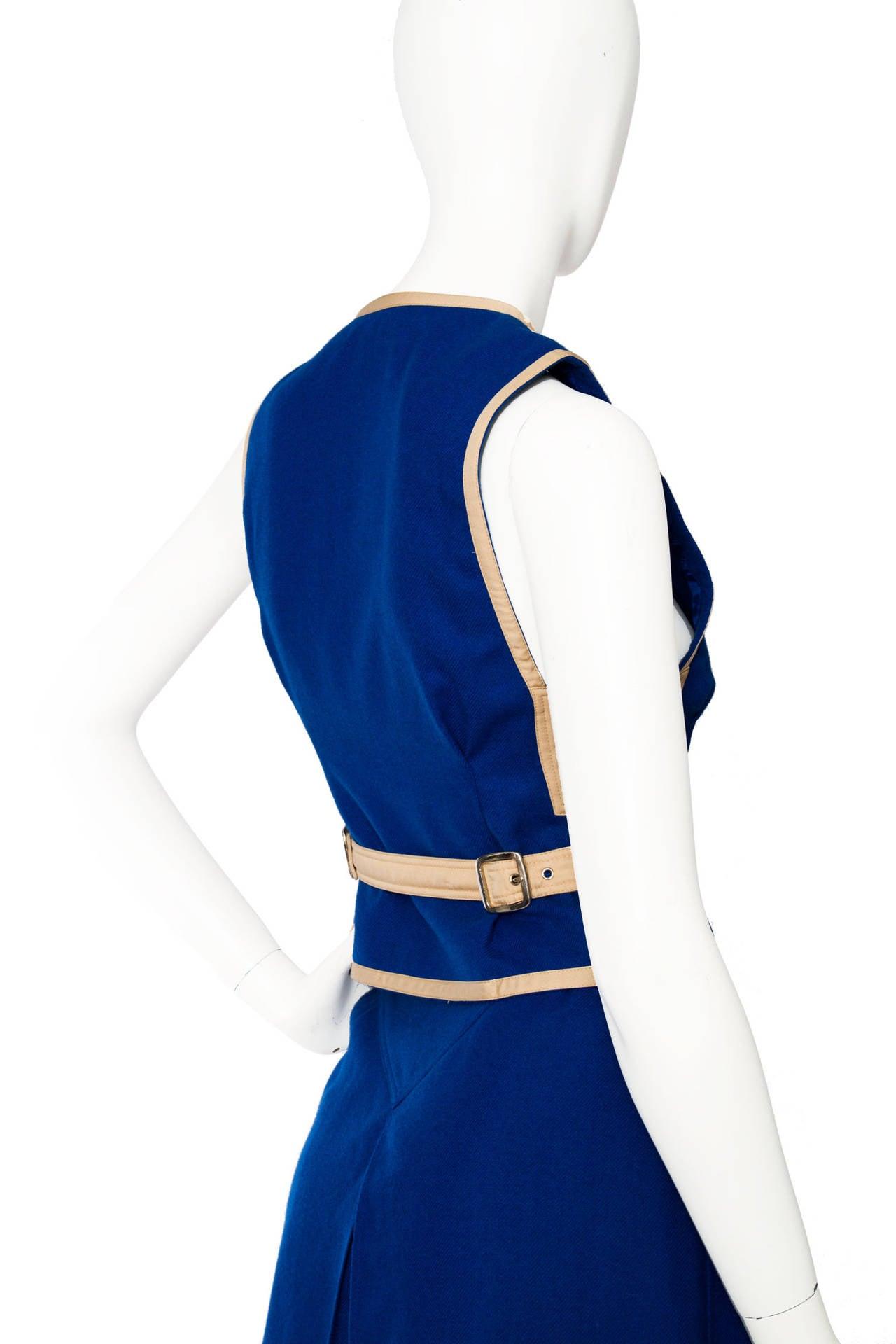 Rare 1960s Courrèges Electric Blue Wool Vest & Skirt Ensemble For Sale 1