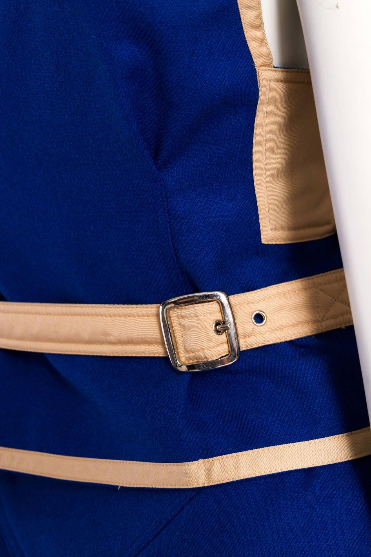 Rare 1960s Courrèges Electric Blue Wool Vest & Skirt Ensemble For Sale 5