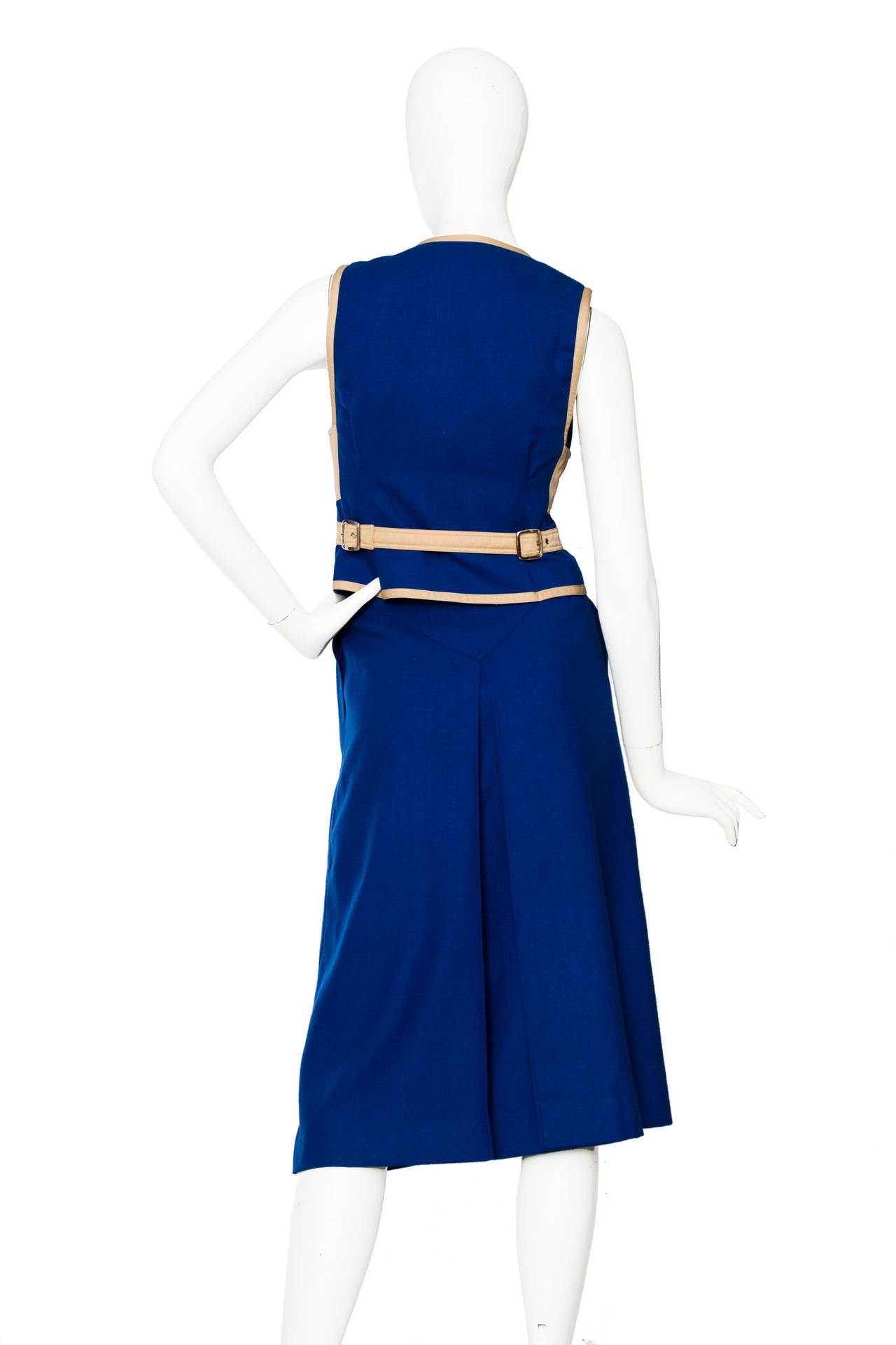 Women's Rare 1960s Courrèges Electric Blue Wool Vest & Skirt Ensemble For Sale
