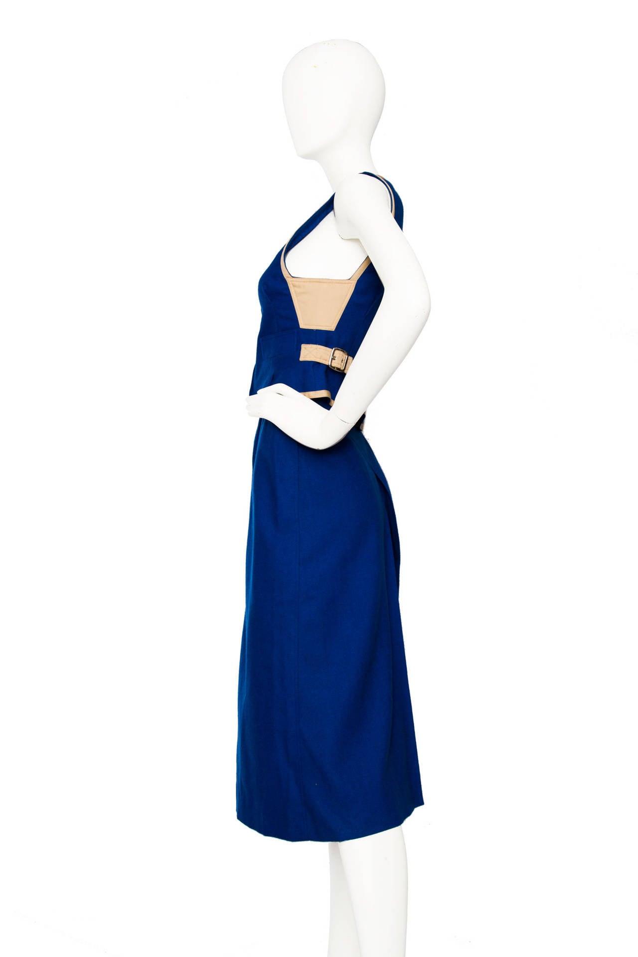 Rare 1960s Courrèges Electric Blue Wool Vest & Skirt Ensemble In Good Condition For Sale In Copenhagen, DK