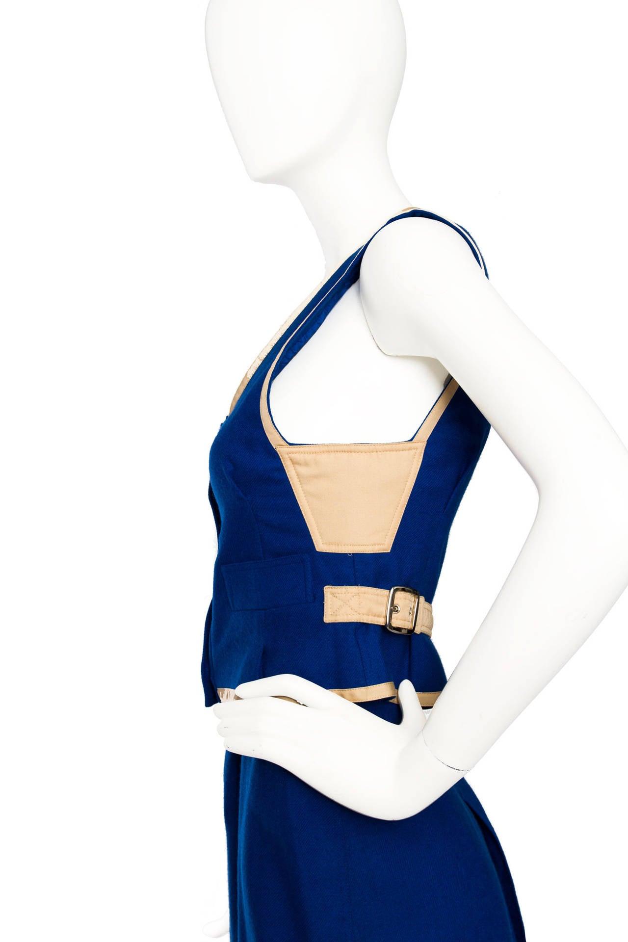 Rare 1960s Courrèges Electric Blue Wool Vest & Skirt Ensemble For Sale 2