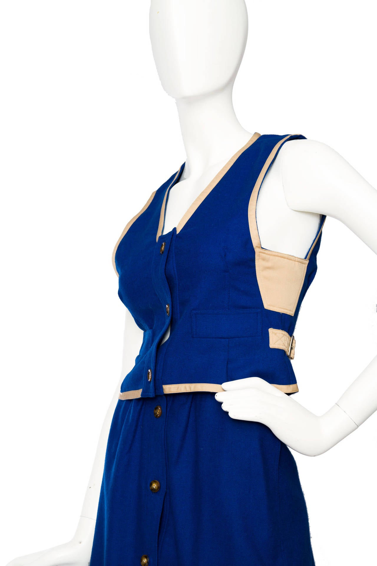 Rare 1960s Courrèges Electric Blue Wool Vest & Skirt Ensemble For Sale 3