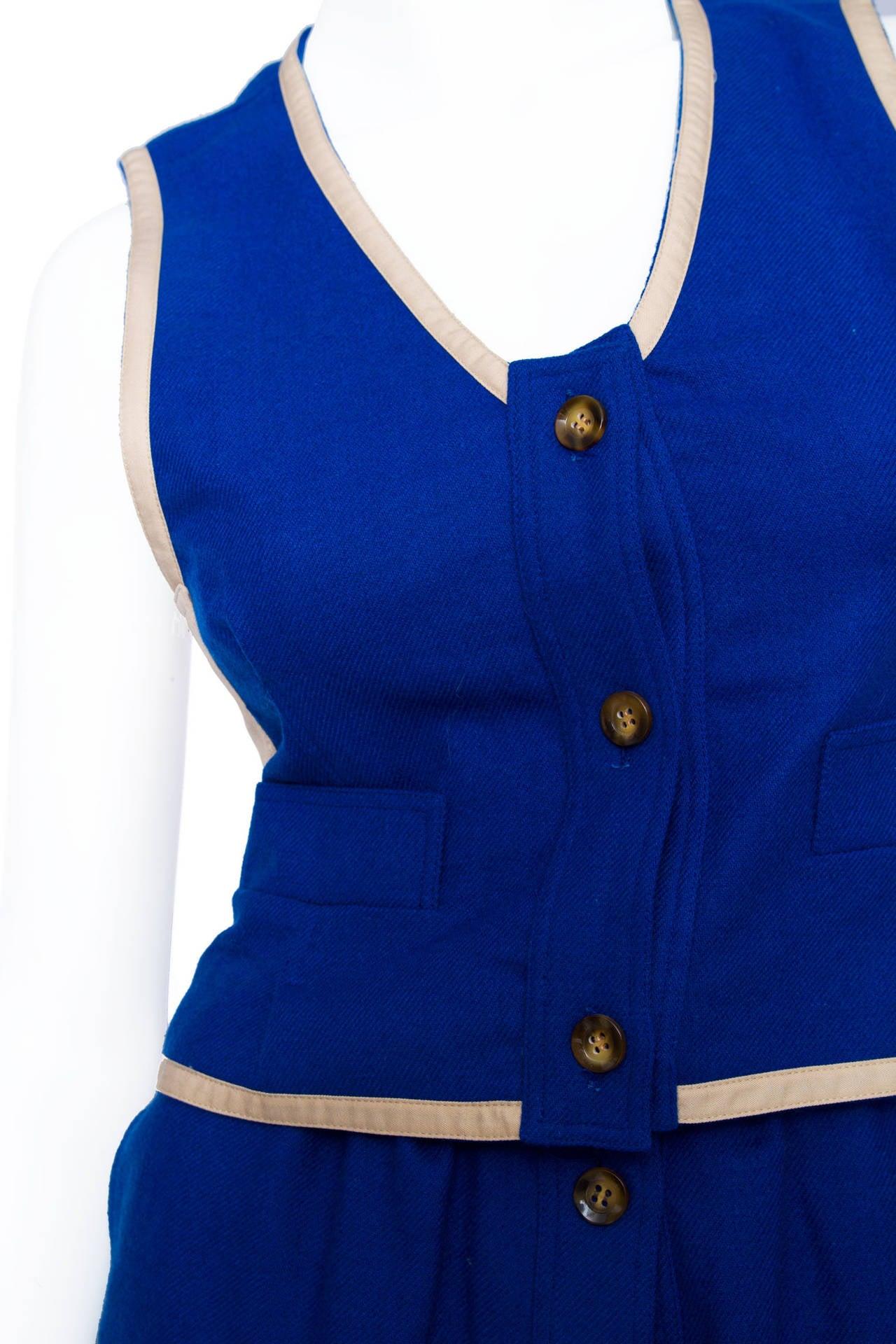 Rare 1960s Courrèges Electric Blue Wool Vest & Skirt Ensemble For Sale 4