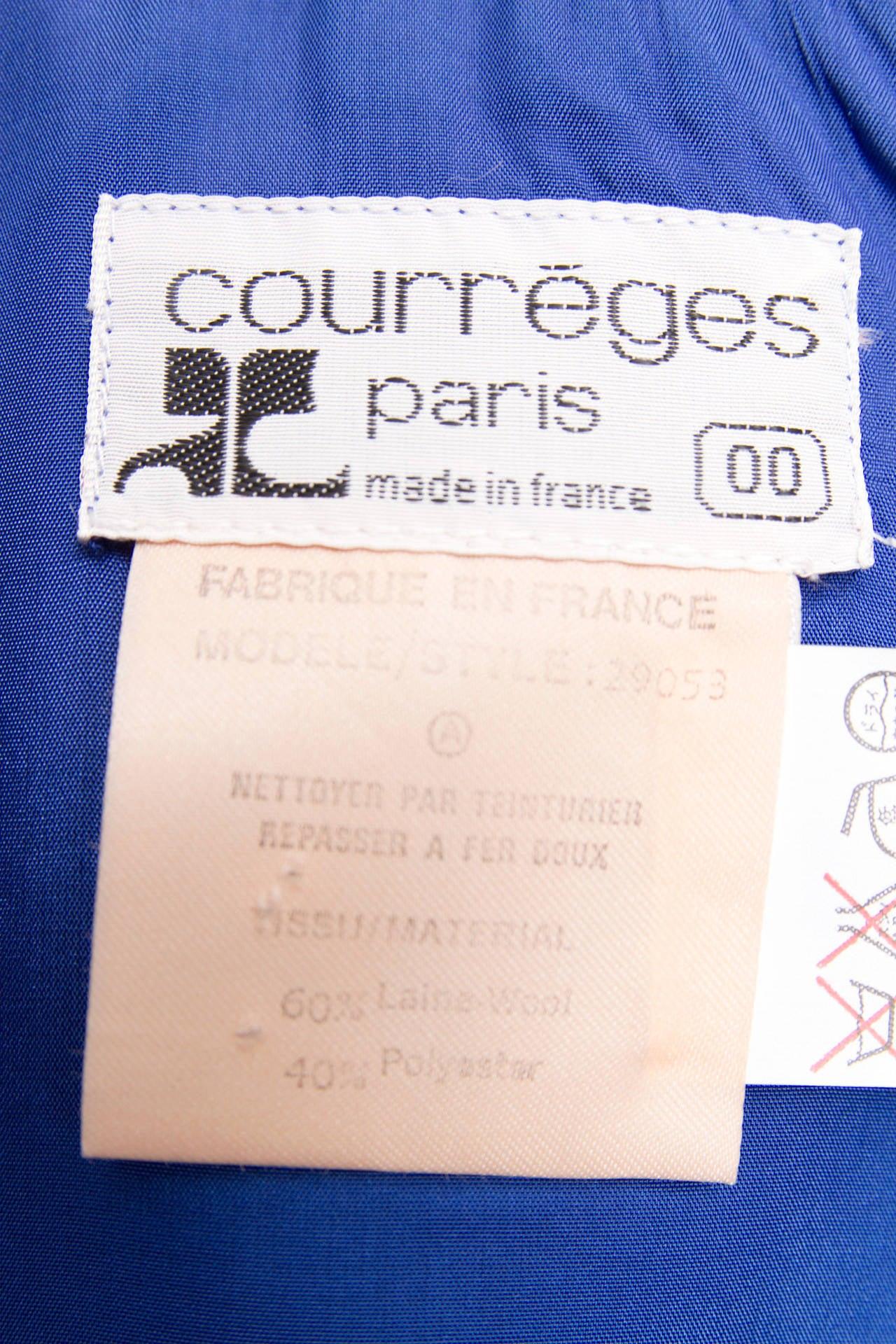 Rare 1960s Courrèges Electric Blue Wool Vest & Skirt Ensemble For Sale 6