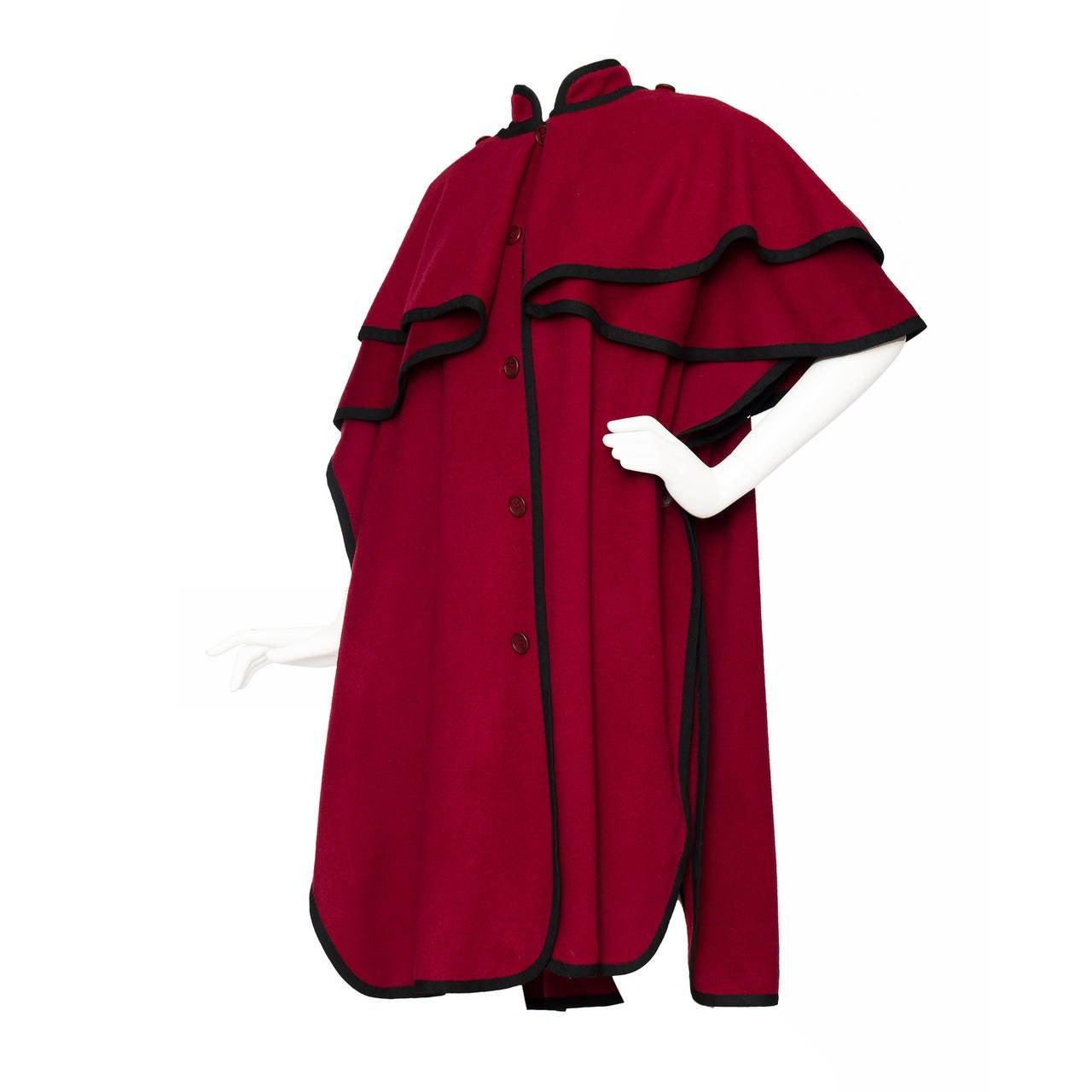 1970s Yves Saint Laurent Burgundy Wool Cape 1