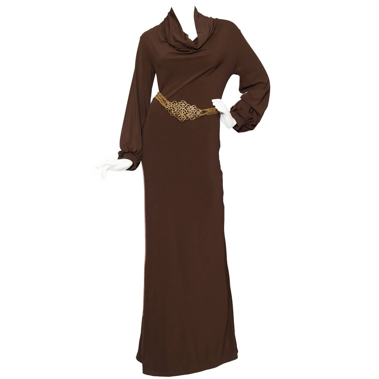 1990s Yves Saint Laurent Brown Jersey Evening Dress