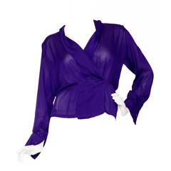 1980s Yves Saint Laurent Haute Couture Silk Jersey Blouse