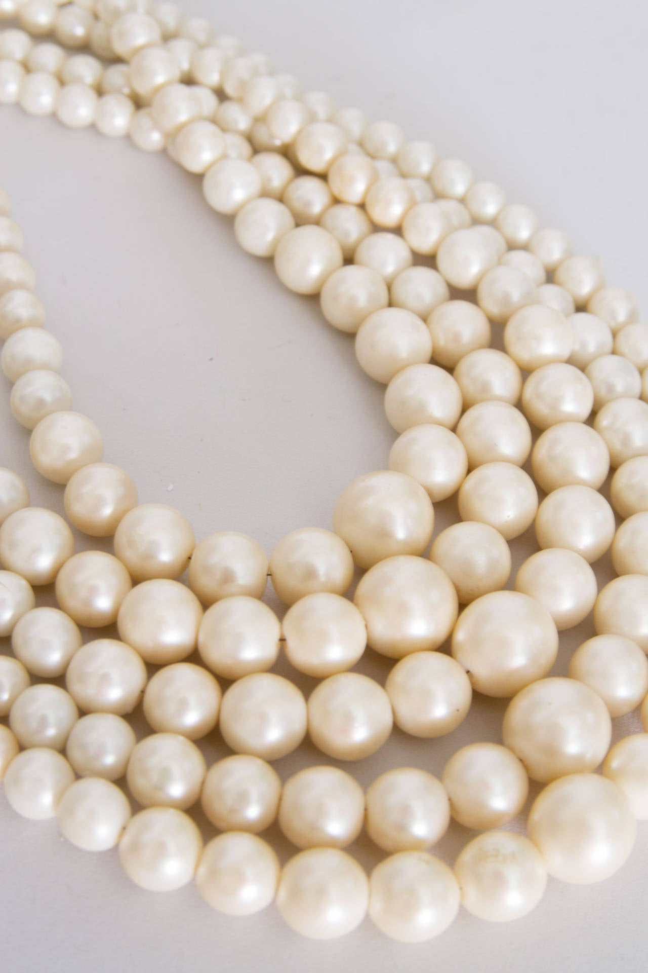 1960s Christian Dior Pearl Five Strand Choker Necklace 7
