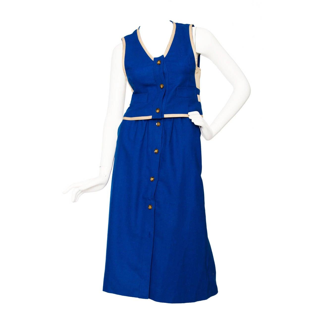 Rare 1960s Courrèges Electric Blue Wool Vest & Skirt Ensemble
