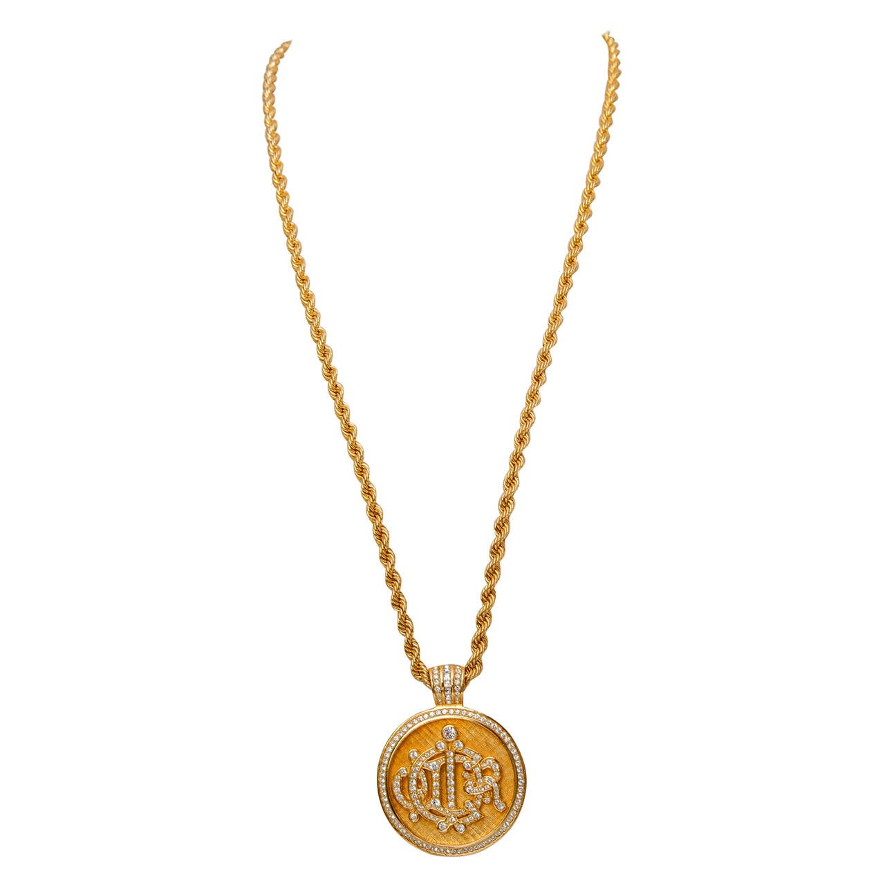 1980s Christian Dior Gold Chain & Rhinestone Studded Logo Pendant For Sale