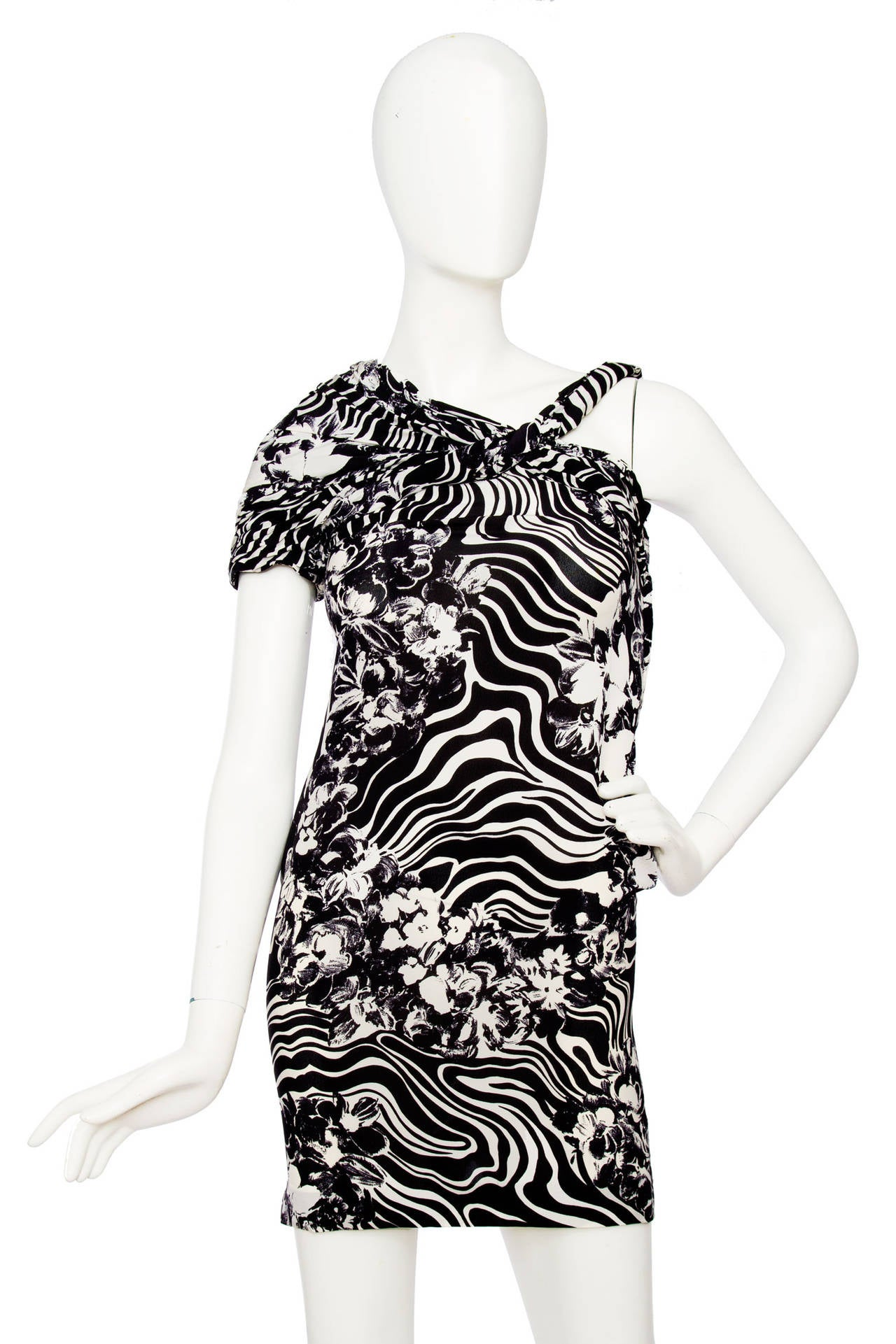 1980s Gianni Versace Monochrome Silk Dress 2