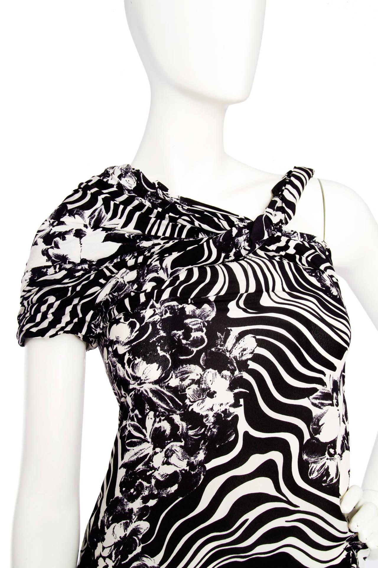 1980s Gianni Versace Monochrome Silk Dress 6
