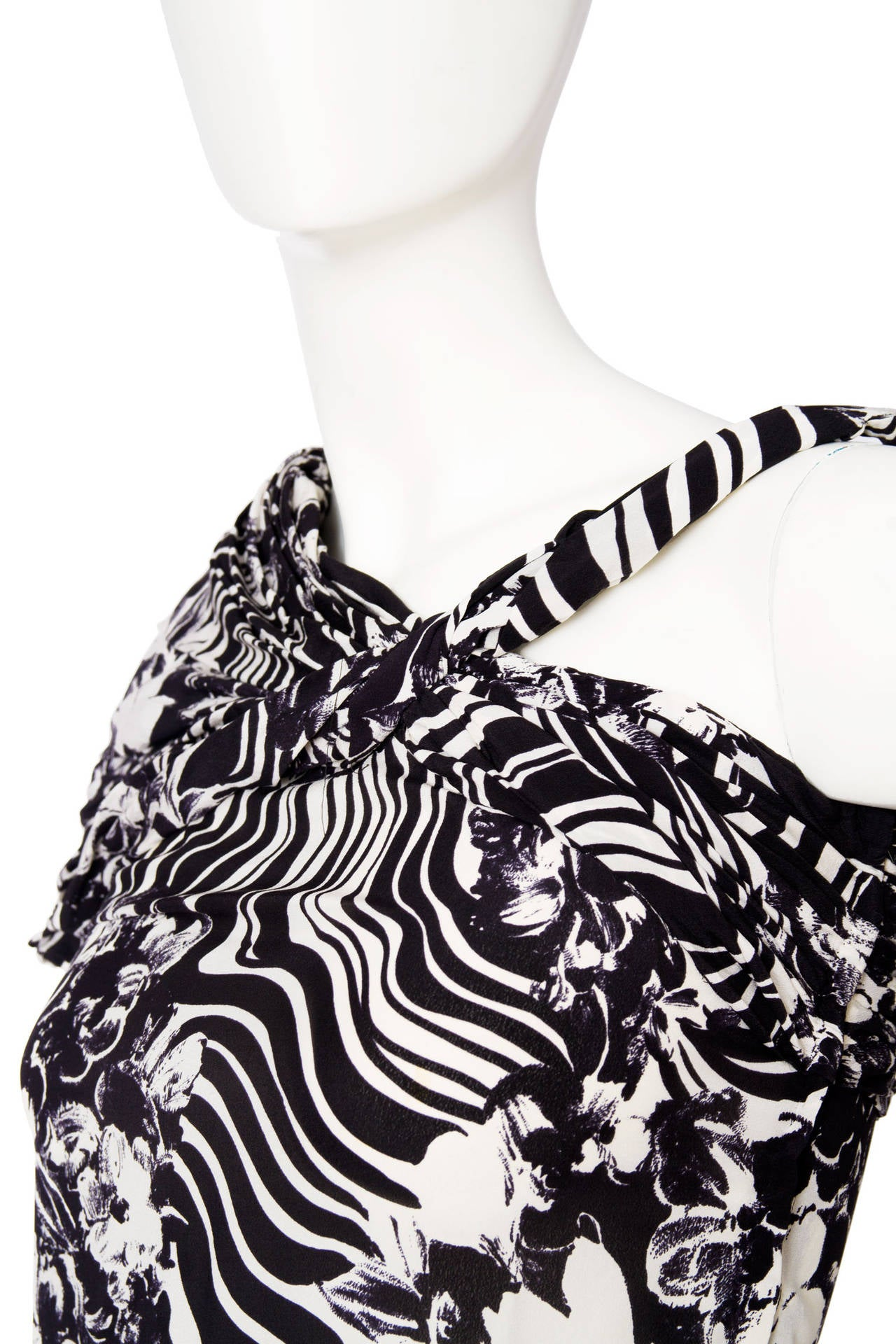 1980s Gianni Versace Monochrome Silk Dress 7