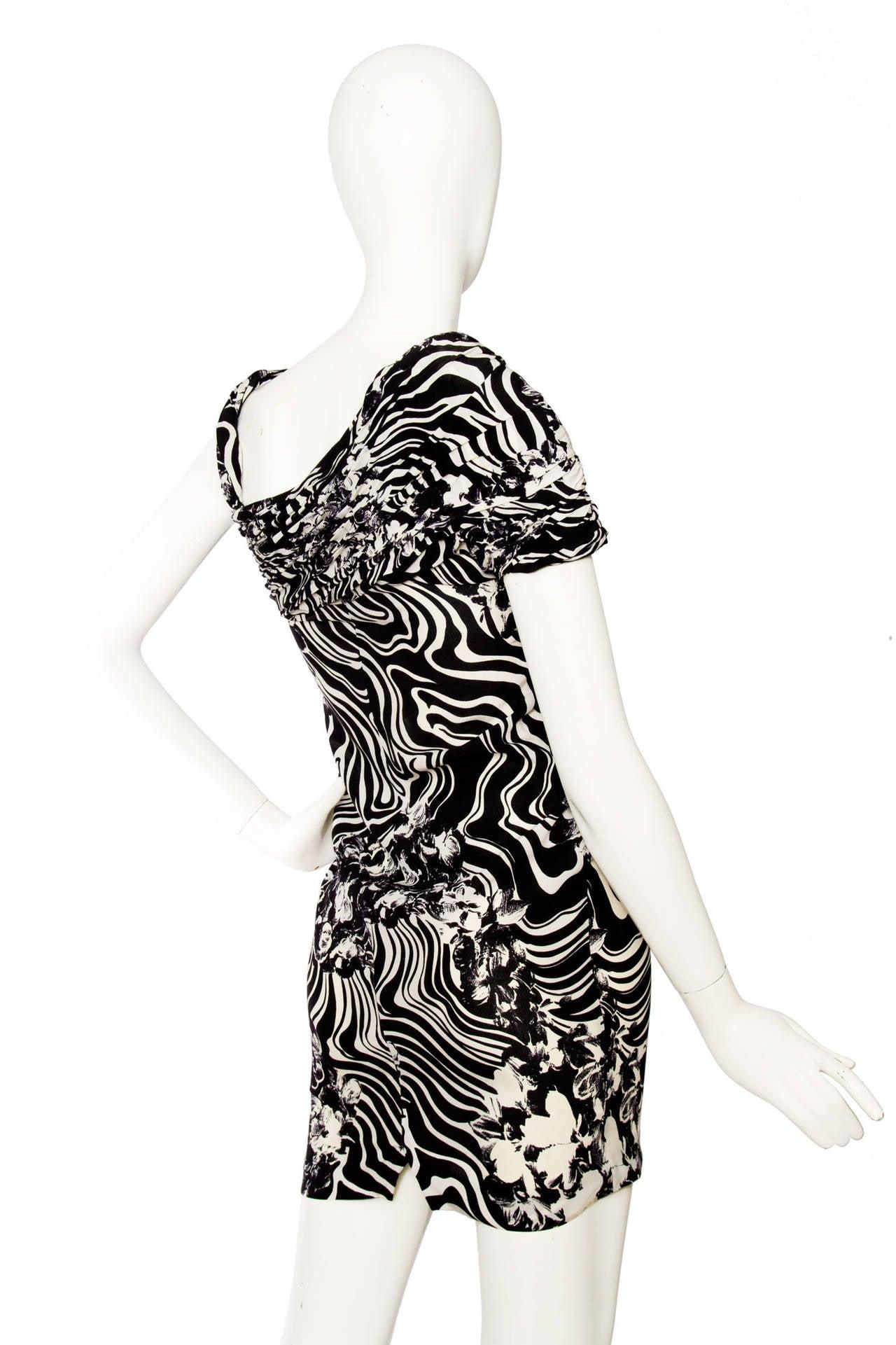 1980s Gianni Versace Monochrome Silk Dress 5