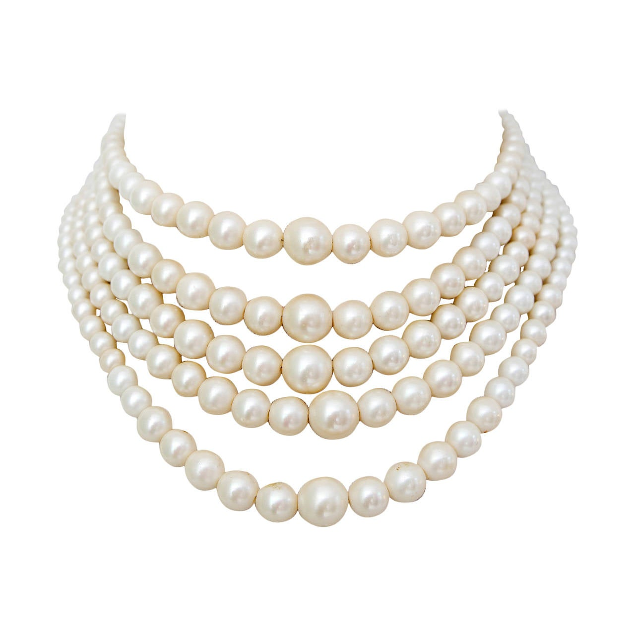 1960s Christian Dior Pearl Five Strand Choker Necklace For Sale