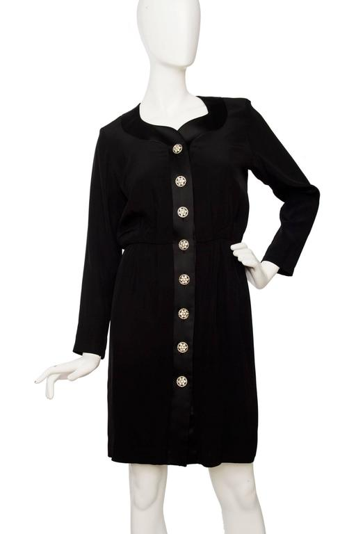 1980s Yves Saint Laurent Little Black Cocktail Dress 2