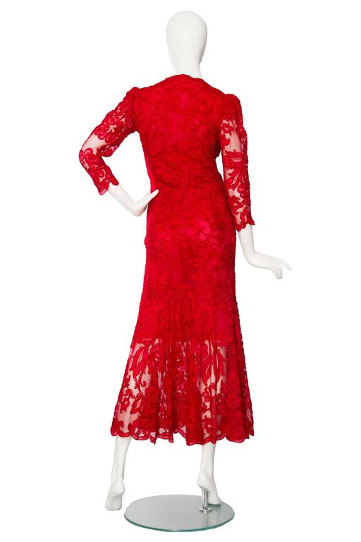 1983 Yves Saint Laurent Bright Red Haute Couture Evening Gown For Sale 1