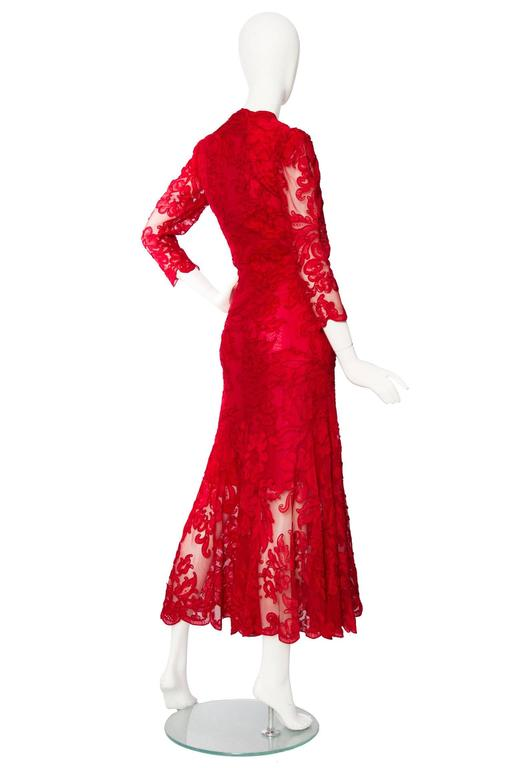 1983 Yves Saint Laurent Bright Red Haute Couture Evening Gown 4