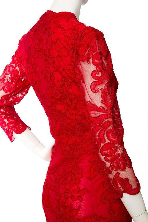 1983 Yves Saint Laurent Bright Red Haute Couture Evening Gown For Sale 2