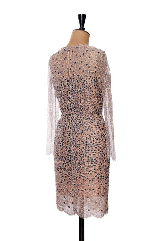1960s Pierre Balmain Haute Couture Lesage Embroidered Lace Dress 5