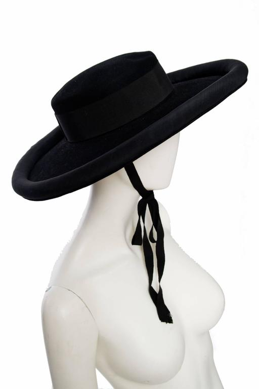 1980s Yves Saint Laurent Black Wide Brimmed Matador Hat 4