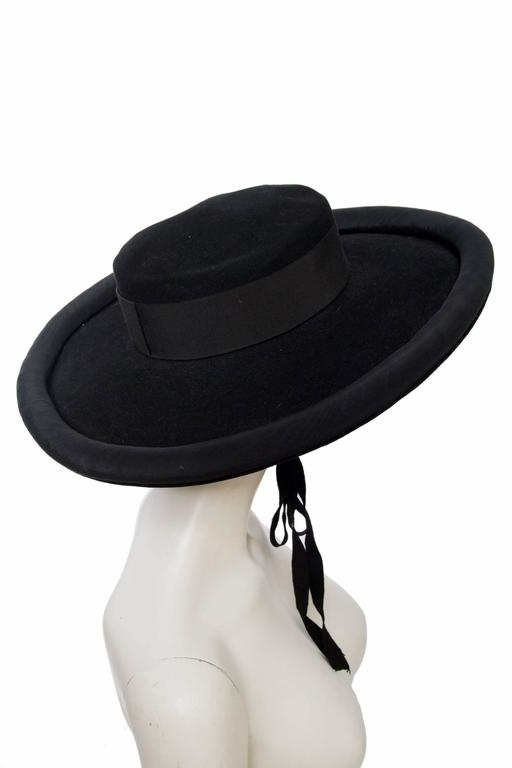 1980s Yves Saint Laurent Black Wide Brimmed Matador Hat 6