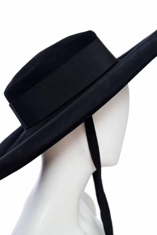 1980s Yves Saint Laurent Black Wide Brimmed Matador Hat 8
