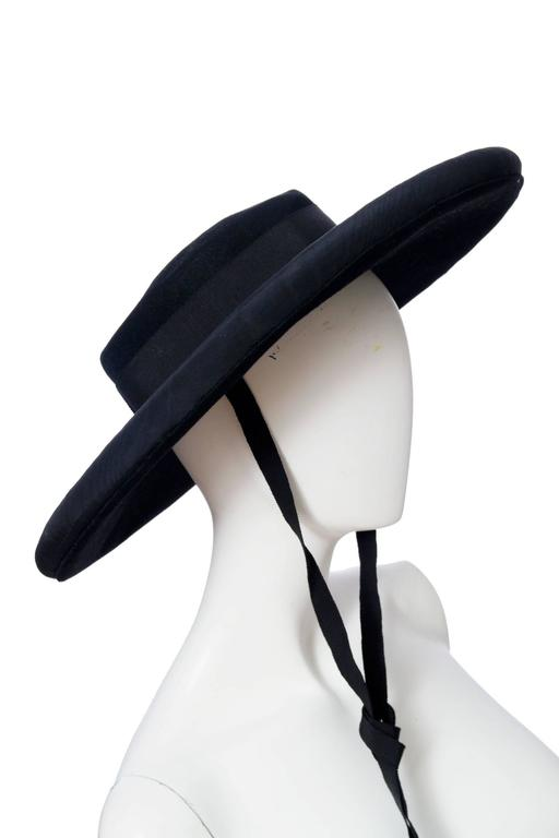 1980s Yves Saint Laurent Black Wide Brimmed Matador Hat 7