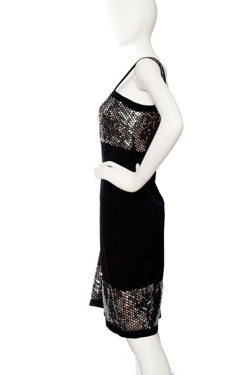 1990s Dolce & Gabanna Black Wool & Silver Sequin Dress In Good Condition For Sale In Copenhagen, DK