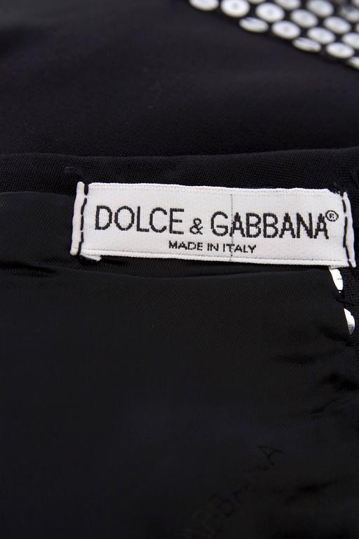 1990s Dolce & Gabanna Black Wool & Silver Sequin Dress 2