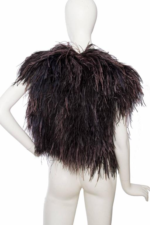 1980s Yves Saint Laurent Ostrich Feather & Sequin Bolero  5