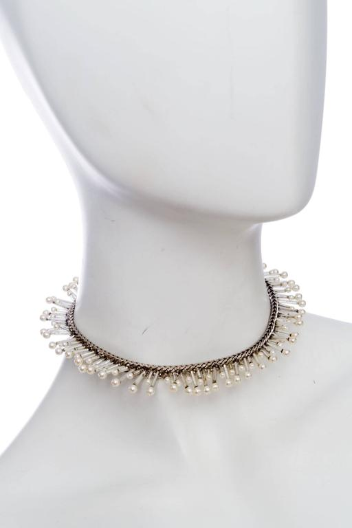 1990s Chanel Silver Beaded Mother-of-Pearl Choker Necklace 5