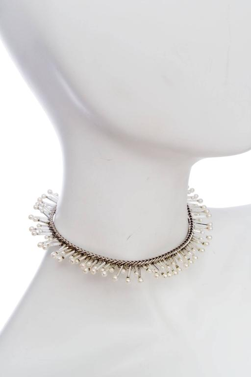 1990s Chanel Silver Beaded Mother-of-Pearl Choker Necklace 3