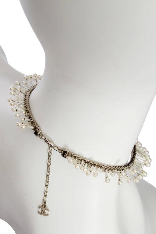 1990s Chanel Silver Beaded Mother-of-Pearl Choker Necklace 7