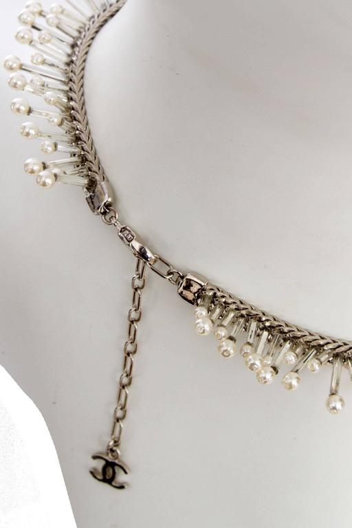 1990s Chanel Silver Beaded Mother-of-Pearl Choker Necklace 9