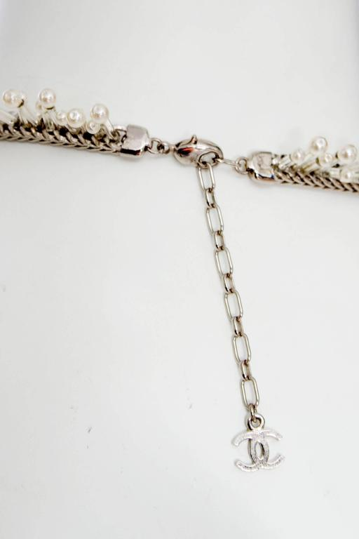 1990s Chanel Silver Beaded Mother-of-Pearl Choker Necklace 8