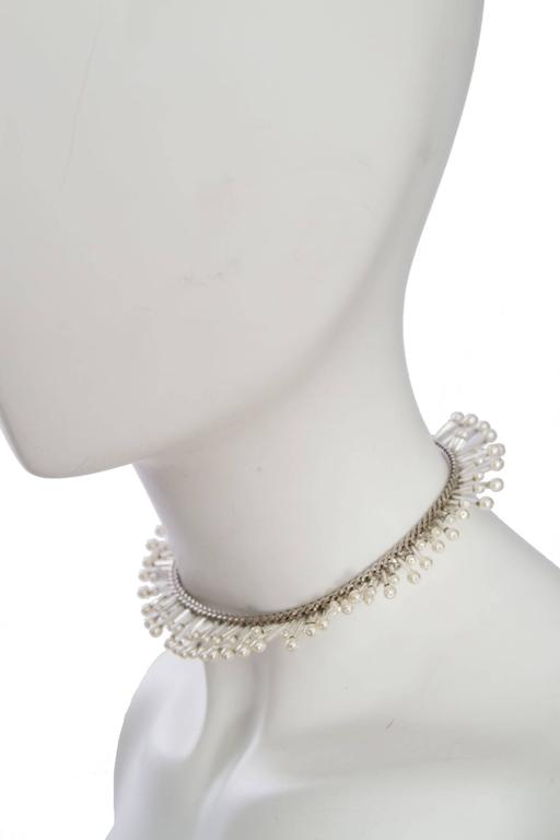 1990s Chanel Silver Beaded Mother-of-Pearl Choker Necklace 4