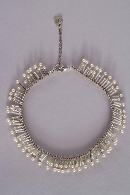 1990s Chanel Silver Beaded Mother-of-Pearl Choker Necklace 2