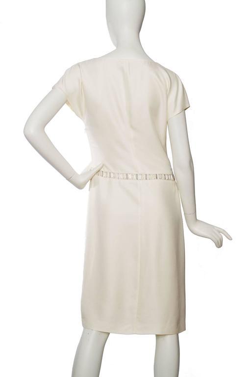 Women's 1980s Off-White Beaded Valentino Silk Dress For Sale