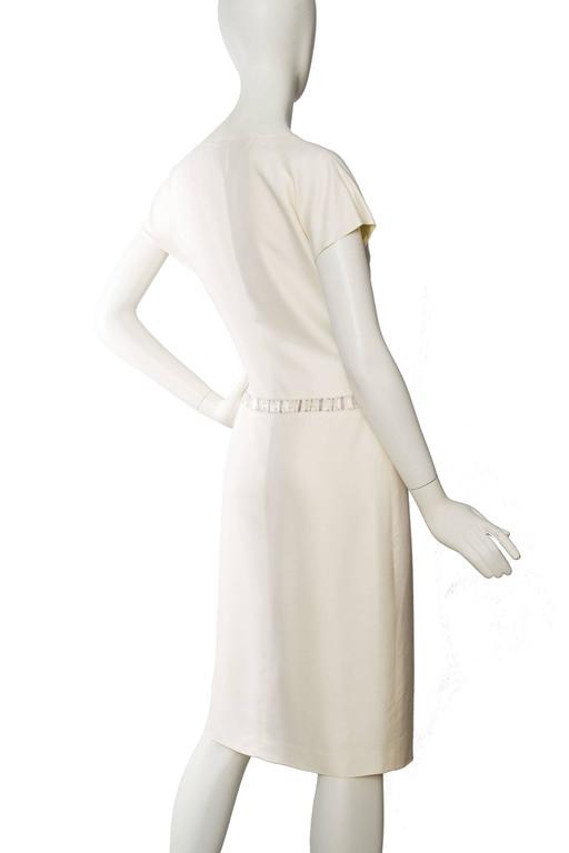 Beige 1980s Off-White Beaded Valentino Silk Dress For Sale