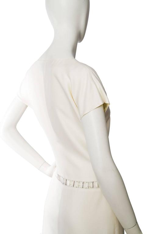 1980s Off-White Beaded Valentino Silk Dress For Sale 1