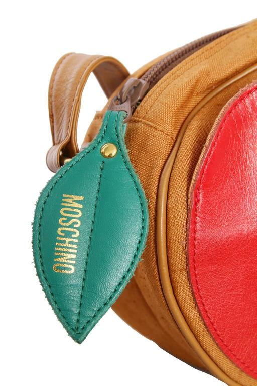 1980s Moschino Canvas Shoulder Bag W. Fruit Applique 2