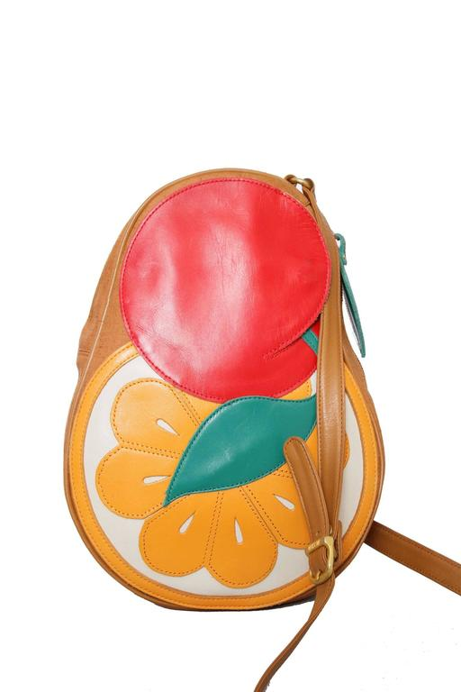 1980s Moschino Canvas Shoulder Bag W. Fruit Applique 3