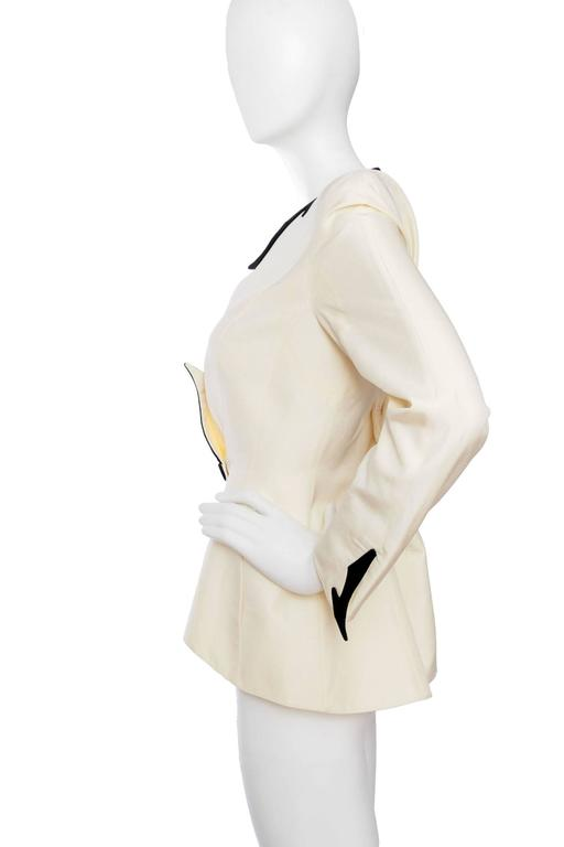 White Dramatic 1980s Thierry Mugler Off-white Evening Blazer  For Sale